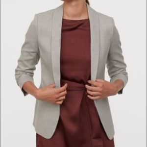 H&M Light Gray Ruched Sleeve Blazer